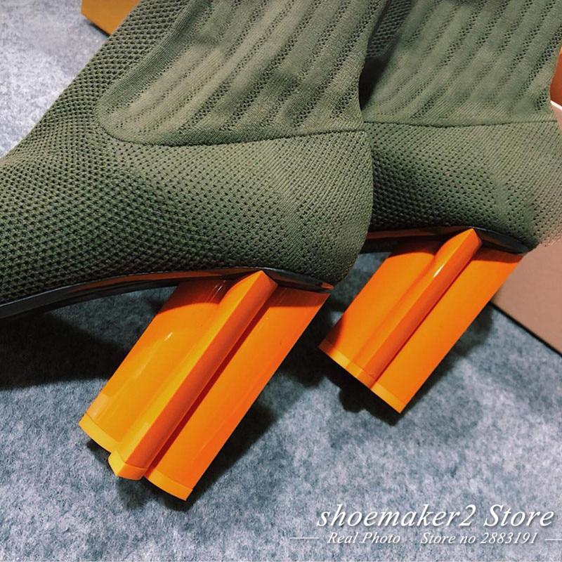 Stretch vert Bleu Talon Bout Tricot Cheville Noir Chaussette Haute Femmes bleu Vert 2018 Chic Rond Bottes Étrange Chaussures Femme SEqPgg