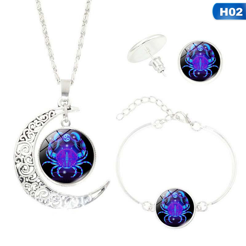 12 Horoscope Time Gem Half Moon Necklace Earring Bracelet Trio 1set Necklace Earring&bracelet Set Glass Cabochon Zodiac Pattern