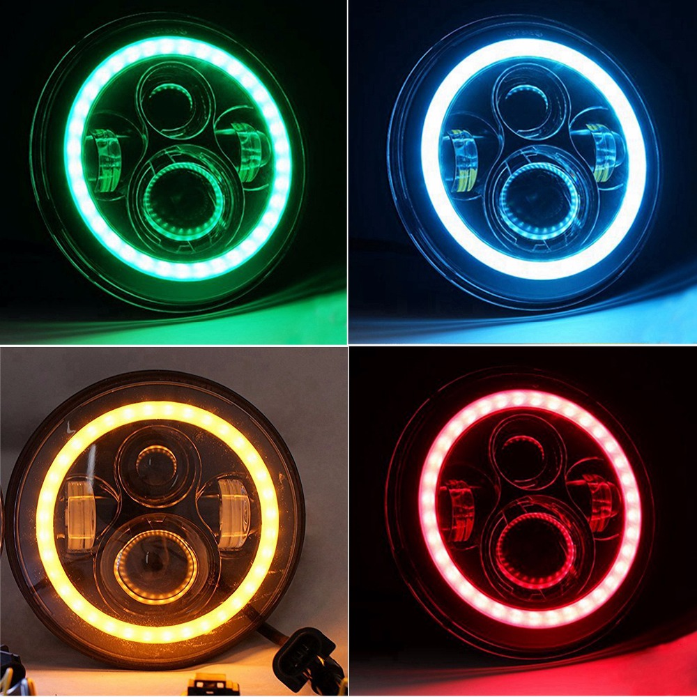 HJYUENG Pair For Harley Motorcycle Jeep LJ Tj FJ JK Wrangler 7 Inch Round LED Headlight Halo Angel Eye / DRL LED Projection Lens 1pcs 7 80w headlamp led headlight with drl for jeep wrangler jk tj fj harley off road lights high low beam new free shipping