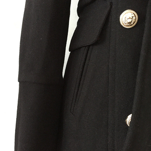Image 4 - HIGH QUALITY New Fashion 2020 Fall Winter Designer Coat Womens Double Breasted Lion Buttons Wool Coat Overcoat