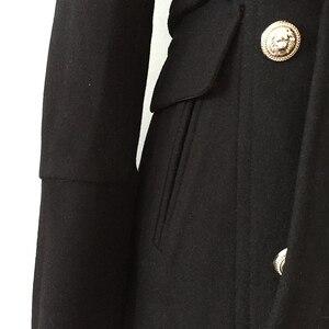 Image 4 - Pardessus en laine pour femmes, nouveau manteau de styliste, de haute qualité, croisé, boutons lions, à la mode, automne hiver 2020