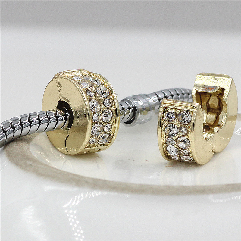 GO MAX DGW Gold&Pink color Clear Safety Stopper Austria Crystal Spacer Clips Bead Charms Fit Original Pandora Bracelets