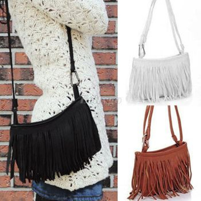 595443714229 Womens Tassle Tassel Fringe Faux Suede Shoulder Messenger Crossbody Bag  Handbag Purse Black Brown White