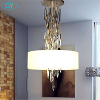 Art Design Modern LED Lustre Chandeliers Fabric Lampshade Acrylic Hanging Lighting Fixture Stainless Steel Decoration Chandelier