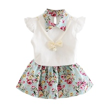 Childrens Clothing Summer Baby Girls Floral Dresses Suit Children Sleeveless Tops+Floral Mini Skirts Dress