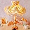 Лампы корейски сад спальня ночники оттенок ткани кружева принцесса свадебный подарок настольные лампы теплой комнате