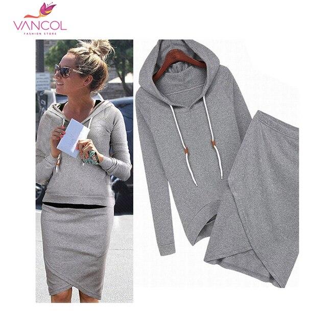 2016 Women Casual Suit Spring Dress Suit Hooded Irregular Skirt Sweatshirt Pullovers Hoodies Black Grey Sportswear Clothing Set