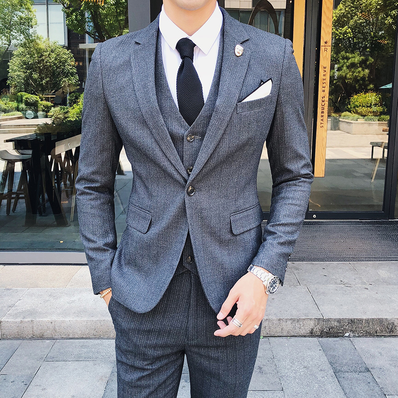 Us 9599 39 Offplyesxale Men Suits For Wedding Slim Fit Costume Mariage Homme Luxe 2018 High Quality Grey Black Blue Formal Business Suit Q269 In