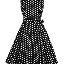 c3cab53d5e6 Kenancy Black Polka Dot Print Women Retro Dress Audrey Hepburn 60s  Rockabilly Swing Vintage Dress V