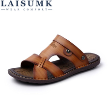 LAISUMK Man Sandals Leather Fashion Summer Shoes Men Slippers Breathable Mens Causal