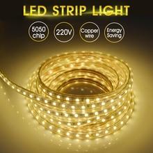 Goodland Waterproof LED Strip Light 220V SMD5050 Flexible Light Tape Ribbon Lamp 1/2/3/4/5/10m 60LEDs/m Home Decorate Lighting