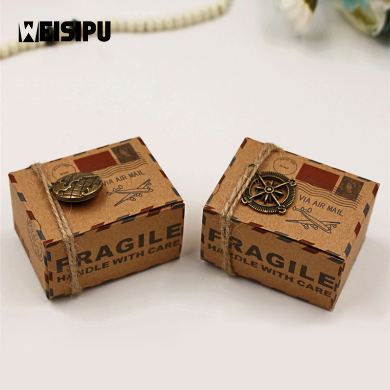 10pcs/lot Kraft DIY Vintage Travel Candy Box with Globe and Compass Chocolate Packaging Gift Box Party Wedding Gifts Box