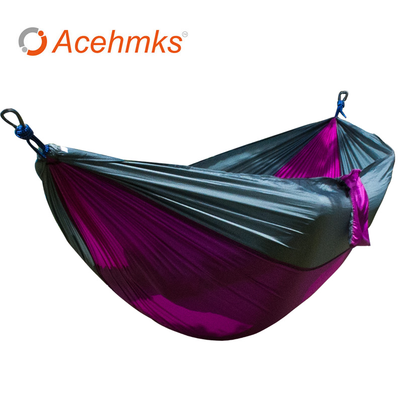 Double Portable Lightweight 2 Person Parachute Hammock with Tree Straps Up 440lb Nylon Rope Hammocks for Hiking Travel Backpack outdoor parachute hammock portable hammocks travel leisure garden swings hiking lightweight nylon camping hammock beds