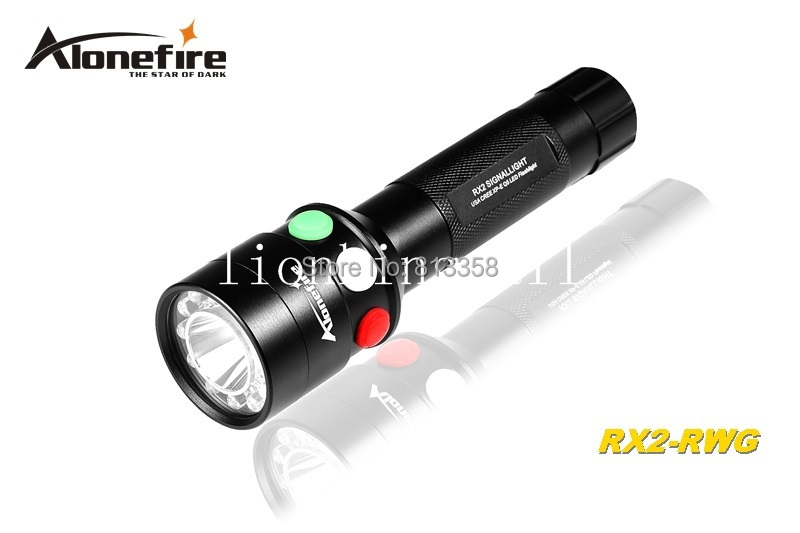 AloneFire RX2-RWG CREE XP-E Q5 LED Red White Green light Multi-function signal lamp flashlight torch