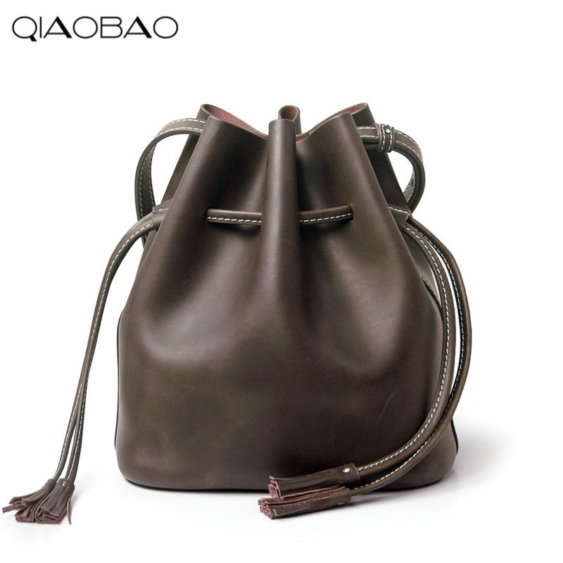 ФОТО QIAOBAO 100% Natural Leather Bucket women messenger bags Fashion Composite bag women famous brands designer Bag