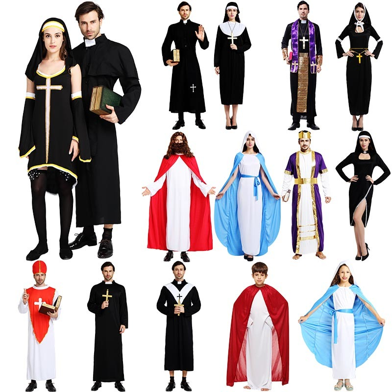 Latex Mens Hot White Adult Nuns Uniform Sexy Nun Halloween Costumes
