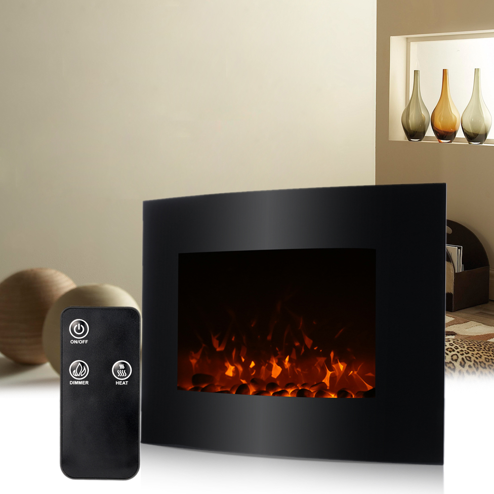 Homgeek large electric fireplace 1500w wall mount 3d flame for Heat setting for home