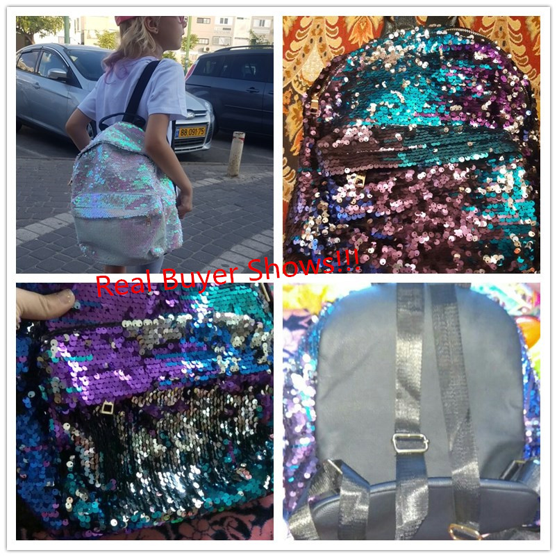 Miyahouse Fashion Colorful Sequins Design Backpack For Teenage Girls Pu Leather Small Backpack Female Shoulder Bag #4