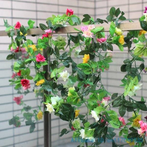 1 stem 230cm (7.6FT) Beautiful Artificial Rose Green Leaves Vine Silk plastic Flowers Home Wedding Decoration Gift F7