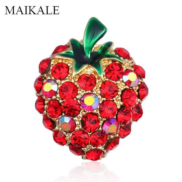 Maikale Pesona Kristal Merah Strawberry Pin Bros Berlian Imitasi Buah Bros untuk Wanita Anak Perempuan Kemeja Fashion Aksesoris Hadiah