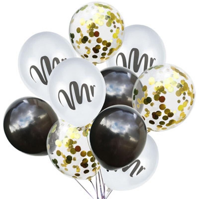 10 Pcs 12 Latex White Mr Mrs Printed Ballonnen Gold Confetti Round Air Balloons Bruiloft Valentine S Day Event Helium Globos