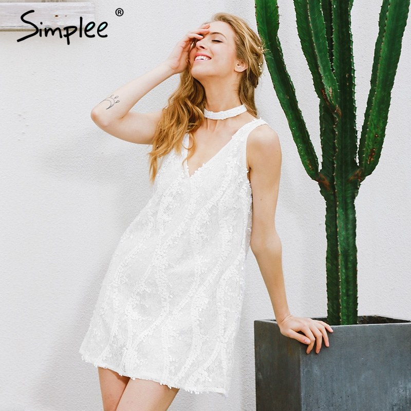 Simplee Холтер Белое Кружевное летнее платье с блестками женское сексуальное короткое платье без рукавов с глубоким v-образным вырезом Повседн...