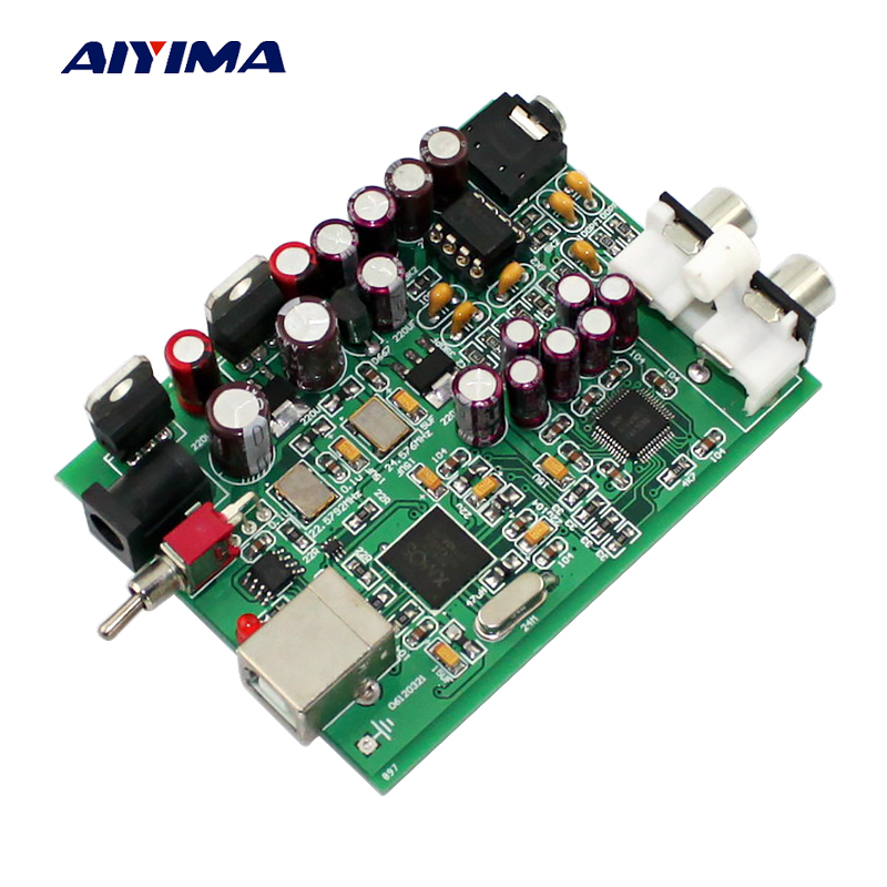 Aiyima XMOS U8+AK4490 USB DAC Decoder OP AMP NE5532 Sound Card Headphone Output Support PCM 16-32bit 192kHz Decoding musiland 01us mark2 usb hifi external sound card hardware decoding dsd support 32bit 384khz