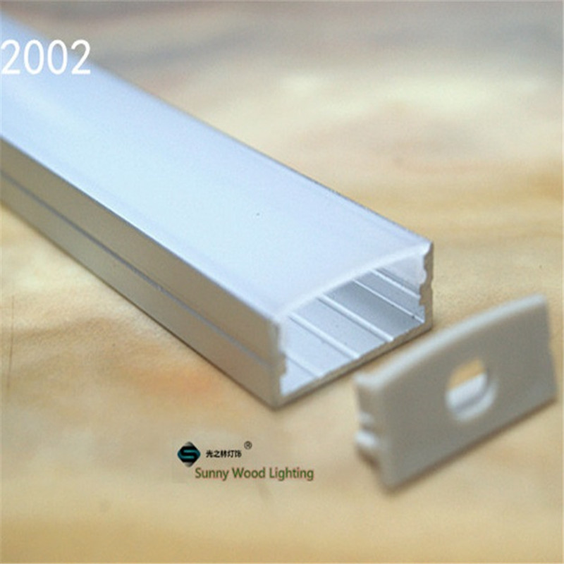10-30 pçs/lote, 2 m/pc alumínio perfil para duas carreiras tira conduzida, láctea/tampa transparente para 20mm pcb, perfil para led de alta potência