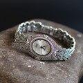 Luxury Vintage Palace Designer Oval Women Quartz Dress Watches 100% Thai 925 Sterling Silver Bracelet Clock Marcasite NW7321