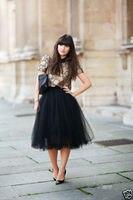 New Custom Made Black 6 Layers Long Tulle Skirt High Waisted Midi Skirts Pleated Women Skirt