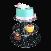 High end Acrylic With Three Layers Of Flower Cake Holder Dessert Display Stand Birthday Party Layered Cake Rack
