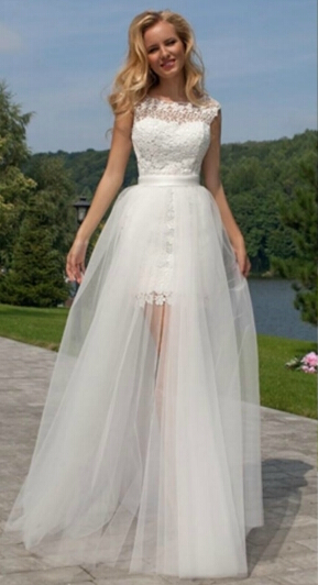 Aliexpress.com : Buy Sheer Lace Two Pieces Beach Wedding Dress ...