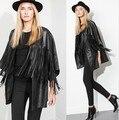 Melinda Style 2014 new women tassel PU jacket fashion outwear women tops free shipping