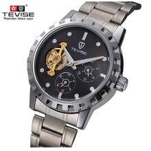 Famosa Marca de Relojes de Lujo TEVISE Hombres Mecánicos Reloj Calendario Luminoso Dial Tourbillon Relojes Del Reloj Para Hombre Relojes de Pulsera Relogio