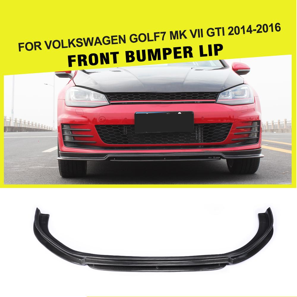 Carbon Fiber Car <font><b>Front</b></font> <font><b>Bumper</b></font> Lip Splitters Spoiler for <font><b>VW</b></font> <font><b>Golf</b></font> <font><b>7</b></font> VII MK7 <font><b>GTI</b></font> <font><b>Bumper</b></font> 2014 - 2018 image