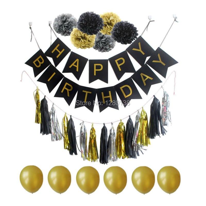 생일 축하 Bunting 배너 장식 파티 풍선 Tissel Garland Pompoms 꽃 블랙 골드와 실버 세트