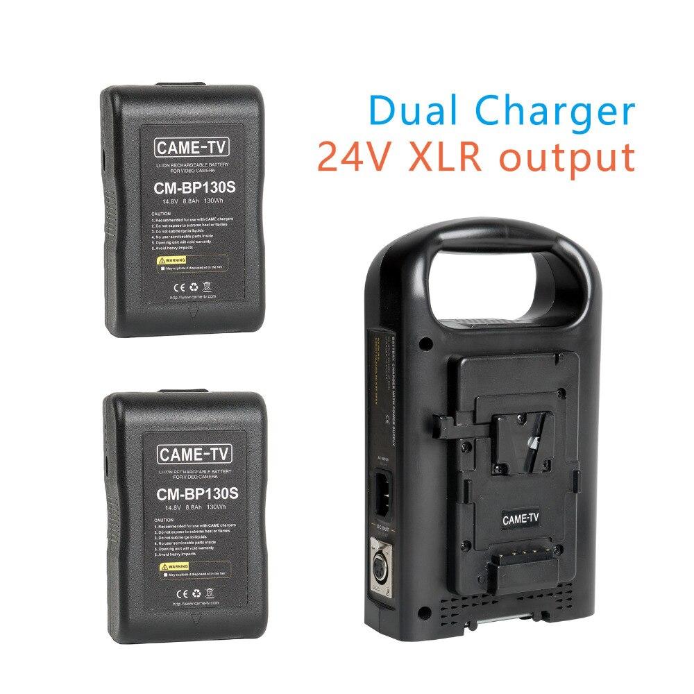 CAME-TV v-mount chargeur de batterie 24 V sortie XLR avec deux Batteries compactes de 130 watts