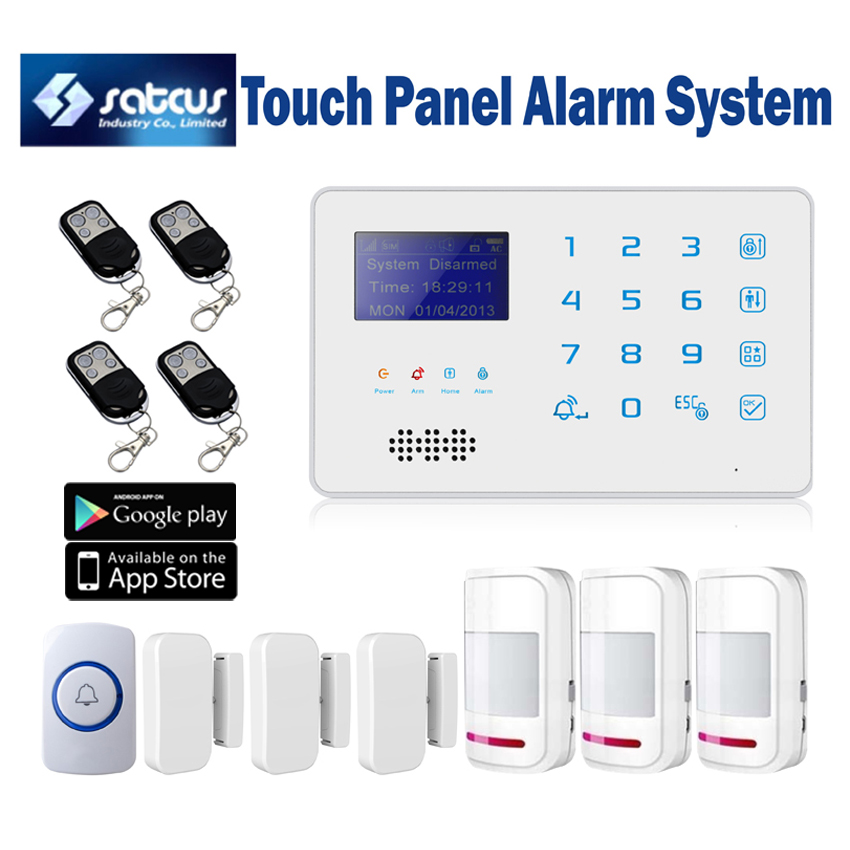 Quad Band Touch Keyboard Wireless GSM SMS Alarm System for Home Security with Panic button Motion Sensor Door Alarm 16 ports 3g sms modem bulk sms sending 3g modem pool sim5360 new module bulk sms sending device