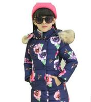 2017 Winter Coat jacket for Girls Children Girl Princess Floral Printed Cotton Padded Clothes Kids Parka Outerwear ZFD007