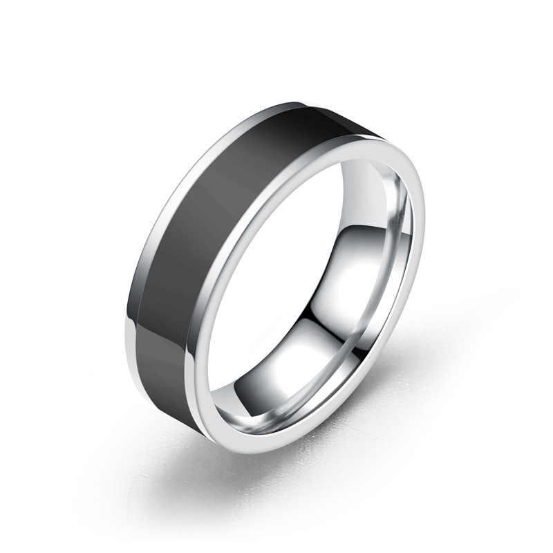 Simple Black แหวน 6 มม. กว้างหมั้นงานแต่งงานแหวนผู้ชายแหวนสแตนเลสเครื่องประดับ bague femme RB103