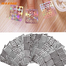 Dropshipping 12 Sheets New Nail Hollow Irregular Grid Stencil Reusable Manicure Stickers Stamping Template Nail Art Tools Mar10