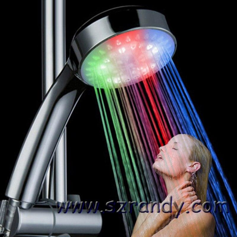 2016 3 Color RGB LED Shower Head Handheld Sprinkler Temperature Sensor Ducha Rain Showers Heads Base Power Hotels Douche Set