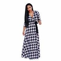 S XXXL Women Printing Long Dress Hot Sale 2017autumn Winter Vestidos Good Quality V Neck Dresses