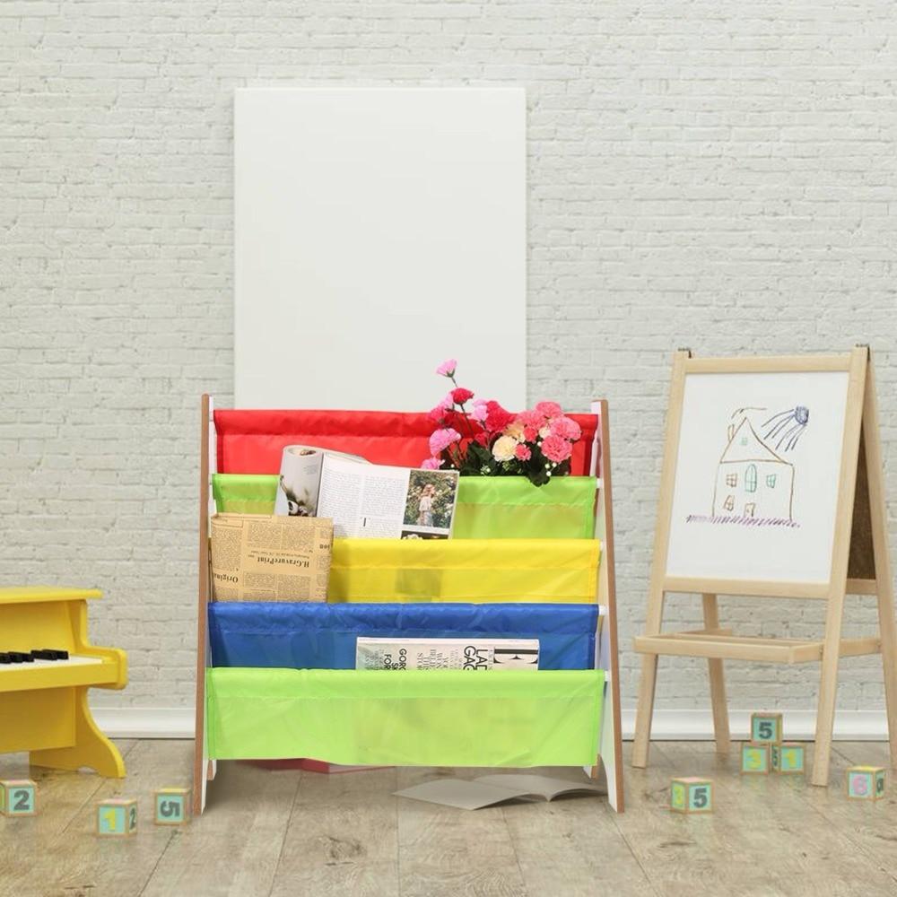 Furniture Bookcase Shelve Toy Storage Rack Multi color Pocket Wooden ...