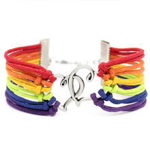 Lesbian Handmade Charm Braided Rainbow Bracelet Wins Friendship