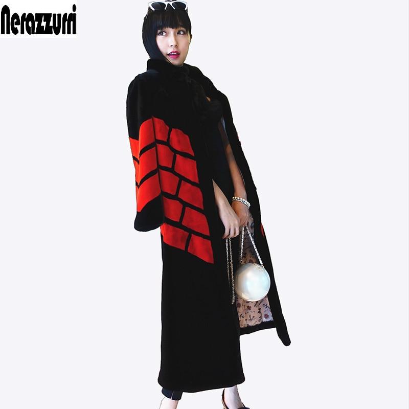 Nerazzurri Brand Long Faux Fur Coat Women 2019 Winter Patchwork Fur Clothes Thick Warm Overcoat Plus Size Outerwear 5XL 6XL 7XL
