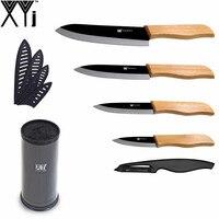 Large Capacity Kitchen Knife Holder One Peeler XYJ Brand Bamboo Handle Black Blade Ceramic Knife Set