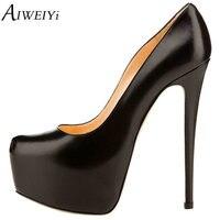 AIWEIYi Women Sexy Platform Stiletto High Heels Patent Leather Round Toe Dress Party Pumps Court Shoes Slip On Stiletto Heels