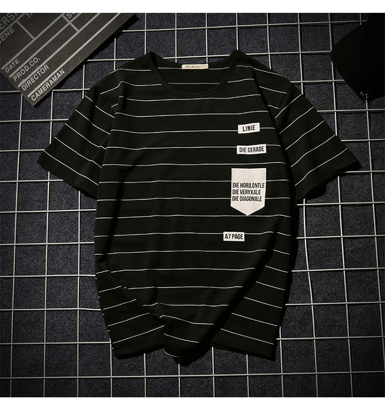 Summer T-shirt Men's Short-sleeved Fashionable Half-sleeved Round-collar Slim Men's Stripe Half-sleeved Clothes MW51 12