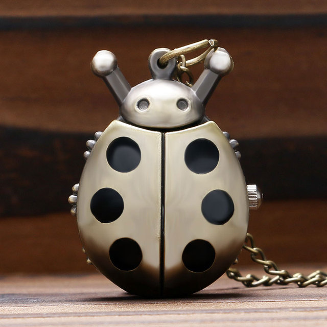 Lovely Ladybug Pocket Watch with Necklace Chain Quartz Fob Clock Gift for Girls